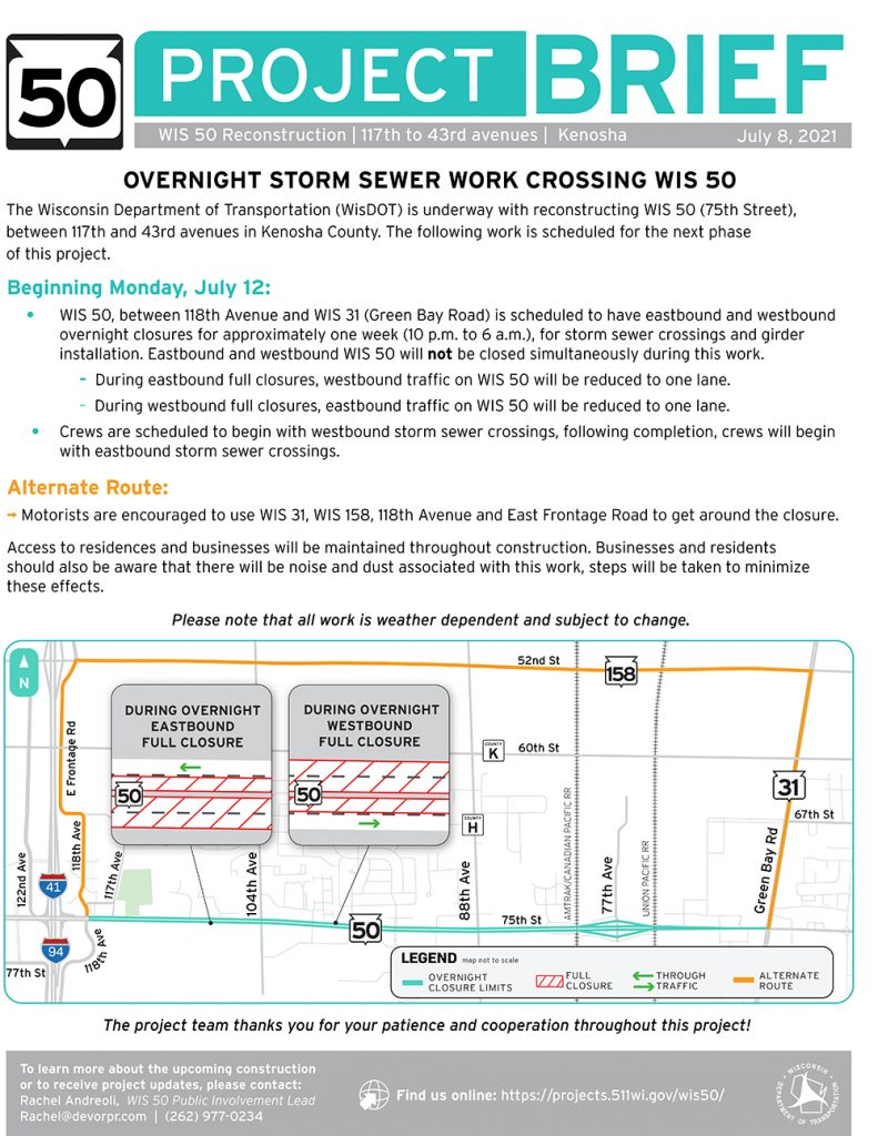 210707 Wis50 Overnight Storm Sewer Closure